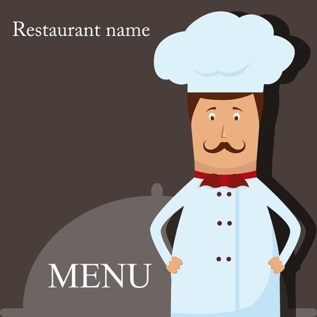 chef italiano: Vector patrón de menú con el chef