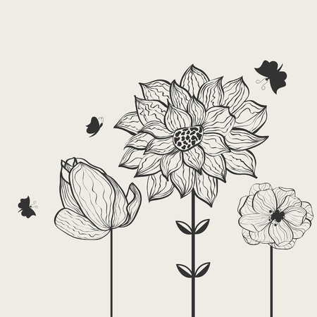 silhouette papillon: Floral background