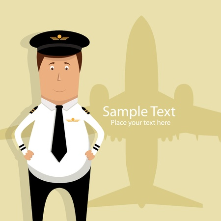Illustration woth pilot and airplane silhouette Vector