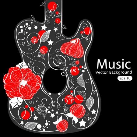 Vector abstract guitar