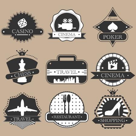 cine: Vintage entertainment labels silhouette set Illustration