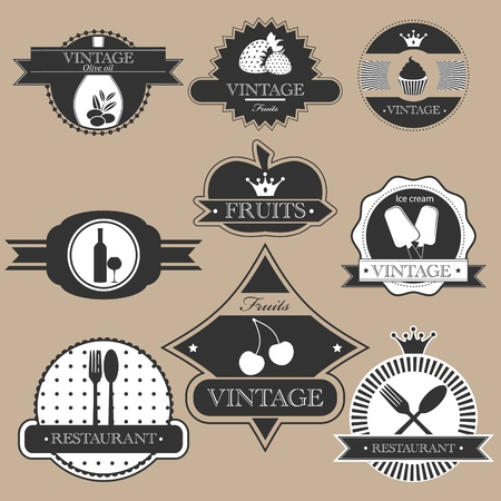 Vintage food labels silhouette set Vector