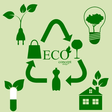 recycling bottles: Eco concept design elements Illustration