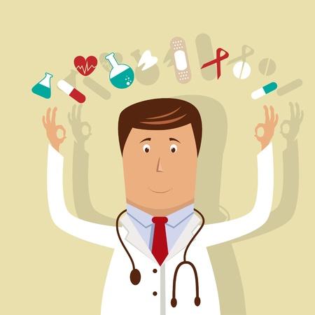 medico caricatura: Ilustraci�n vectorial con el m�dico