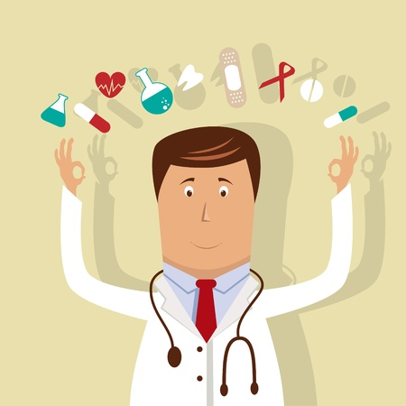 doctor with pills: Vector illustration with doctor Illustration