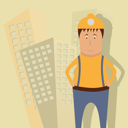 construction worker cartoon: Vector illustration with builder Illustration