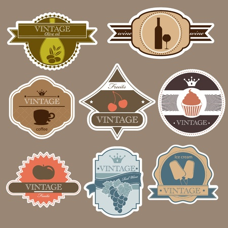 Vintage food labels set Vector