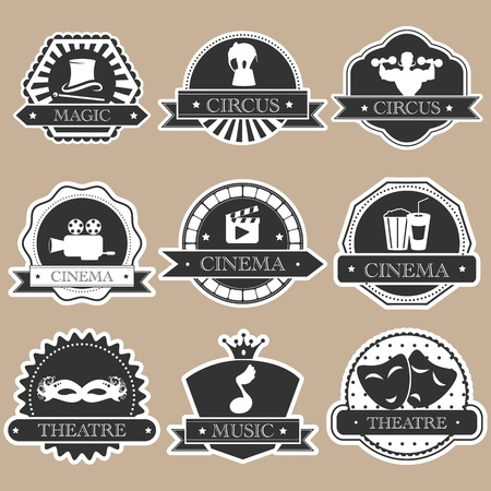 theater man: Vintage entertainment labels silhouette set Illustration