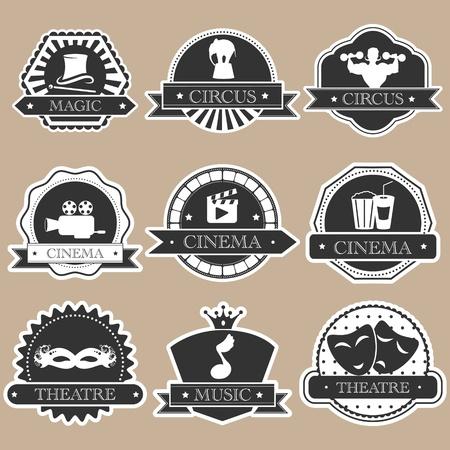 Vintage entertainment labels silhouette set Ilustracja