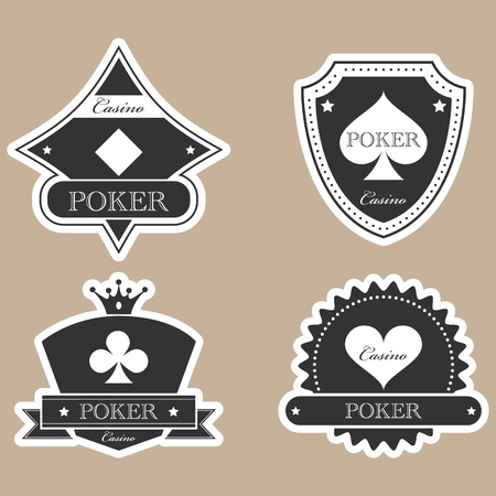 Vintage casino labels silhouette set