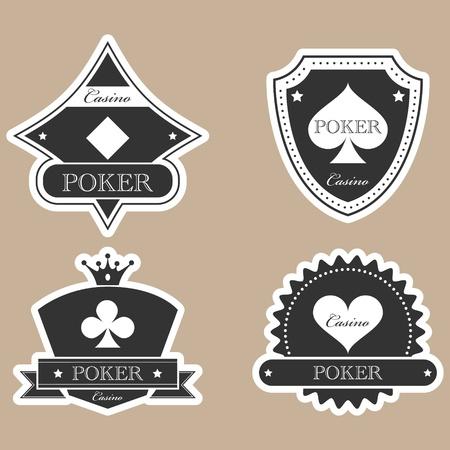 gambling chip: Vintage etiquetas de casino silueta establece Vectores
