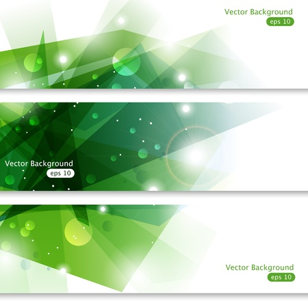 Three green vector banners Vector
