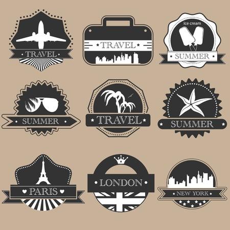packing suitcase: Etichette di viaggio Vintage silhouette impostato