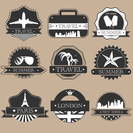 antique suitcase: Vintage travel labels silhouette set