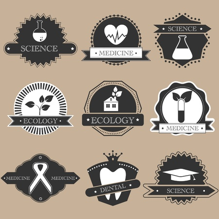 Vintage science labels silhouette set Vector