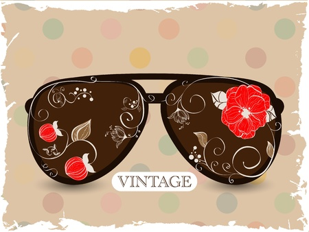 glamur: Vector picture with sunglasses