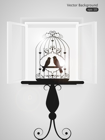 Vector illustration with birdcage and window Vector