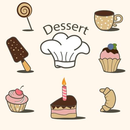 doodle art clipart: dessert icon set