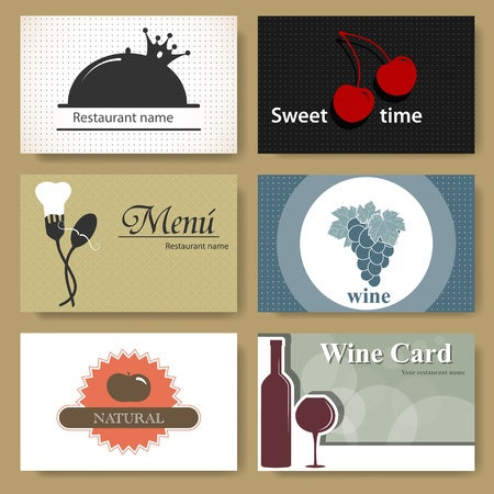 Set of business cards for restaurants Vector