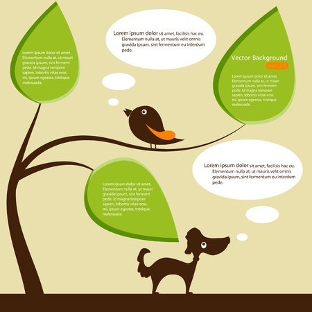 speech bubble tree with bird and dog Stock Vector - 13829909