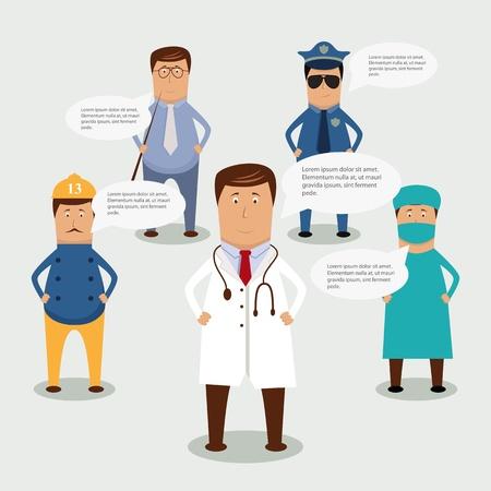 medico caricatura: conjunto de la ocupaci�n profesional Vectores