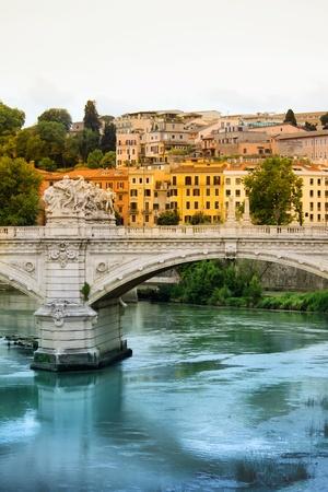 tevere: Bridge over Tiber, Rome, Italy Stock Photo