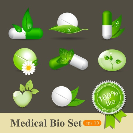 green medical sign: medicine icon set