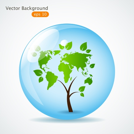 abstract tree in sphere Vector