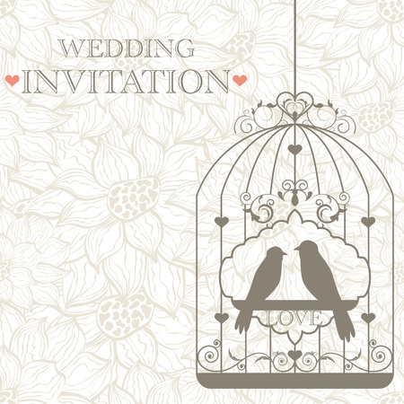 bird cage: pattern for wedding invitation Illustration