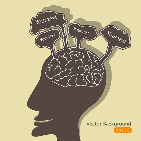 mental confusion: Vector illustration with man