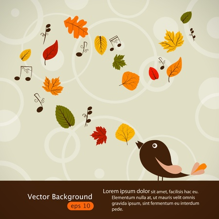 Vector picture with cute singing bird and autumn leaves Vector