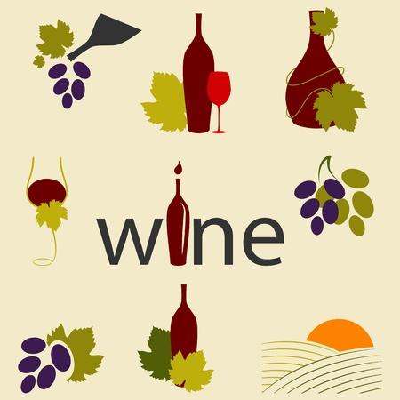 Vector set of wine icons Vector
