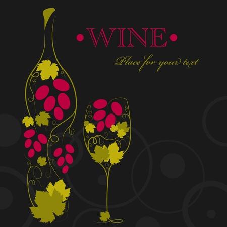 Immagine astratta della bottiglia di vino e bicchiere di vino