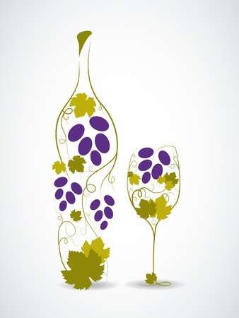green glasses: Abstract picture of wine bottle and wine glass