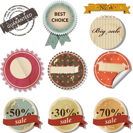 Vector set with retro sale labels  Ilustracja