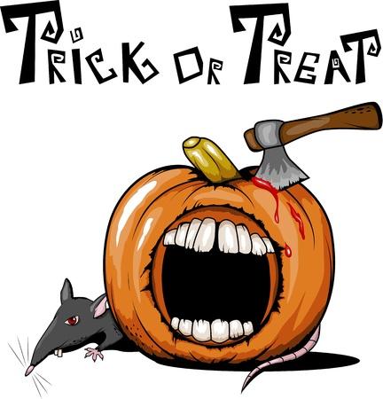 cartoon axe: spooky halloween pumpkin