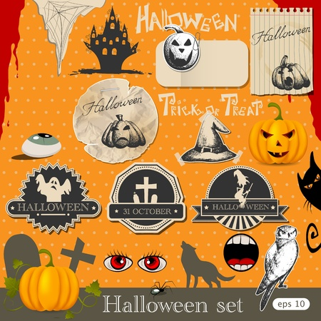 vintage halloween: Halloween design elements