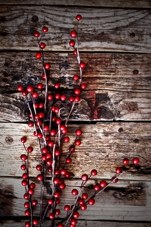 Photo of christmas decorations on wooden background photo