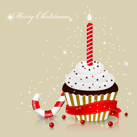 xmas greeting card with cake Vector