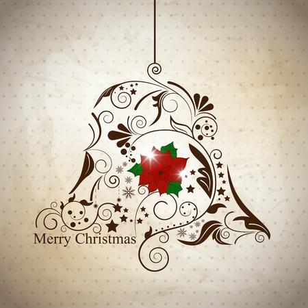 campanas de navidad: xmas reeting tarjeta con bola abstracta