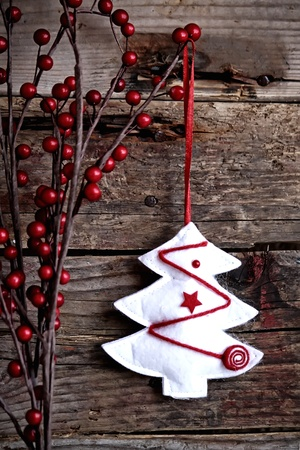 Photo of christmas decorations on wooden background Stock Photo