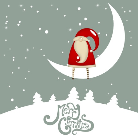 Dreaming Santa Claus on a moon photo