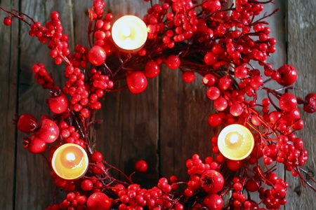 Photo of christmas garland on wooden background photo