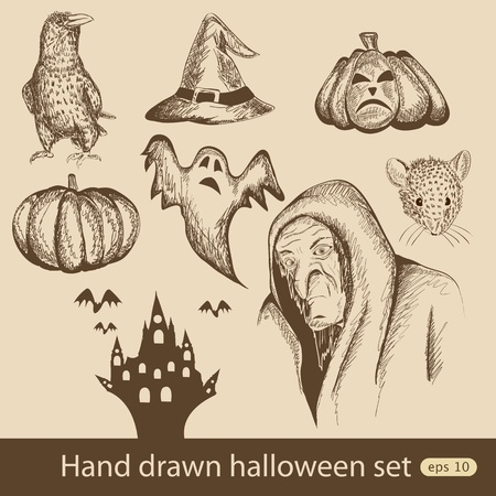 Vector hand drawn halloween set Vector