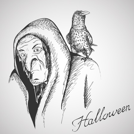 Vector hand drawn illustration with witch and raven Stock Vector - 17341535