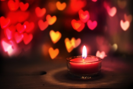 St Valentines day greeting card with candle and hearts
