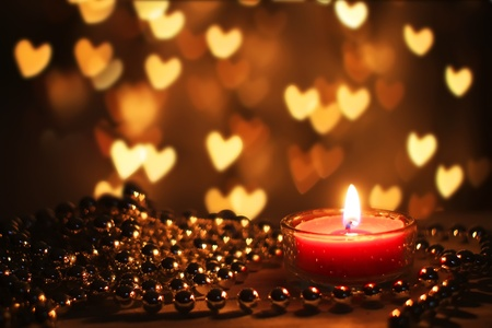 candle flame: St Valentines day greeting card with candle and hearts
