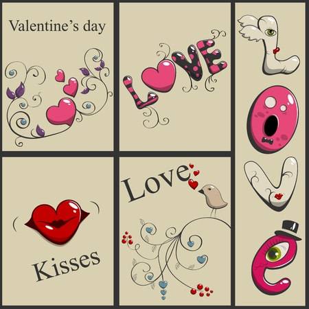 St Valentines day greeting cards set Vector
