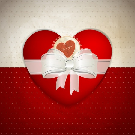 Valentine's day greeting card with cute gift box Stock Vector - 17663591