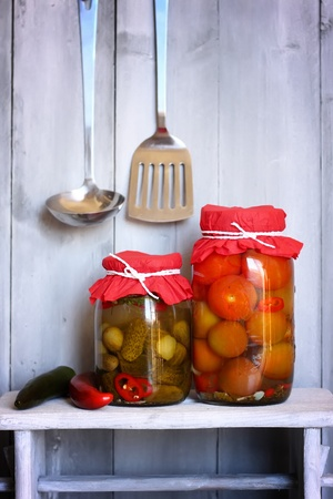 tradional: Traditional russian cuisine - marined cucumbera and tomatos Stock Photo